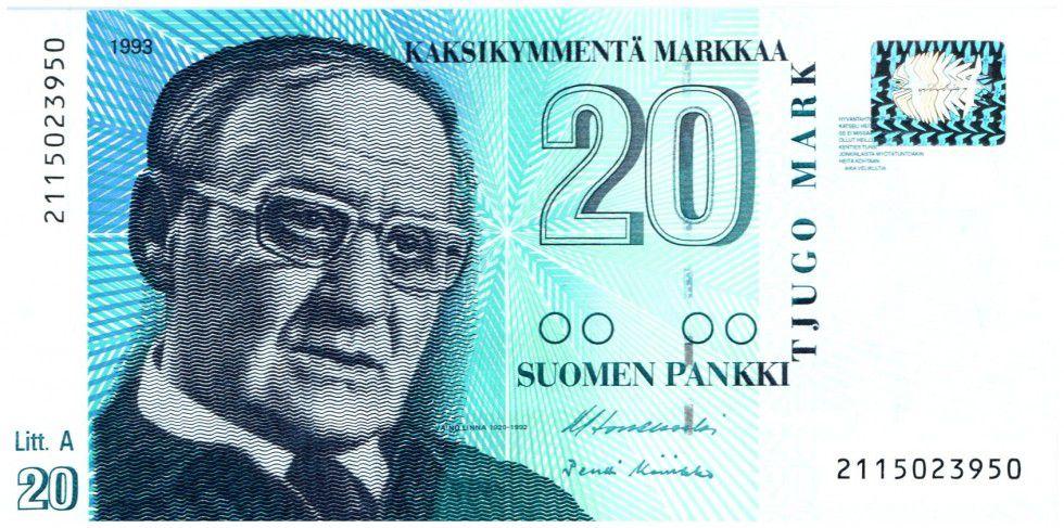 Finlande 20 Markkaa Vaino Linna - Rue de Tampere - 1997