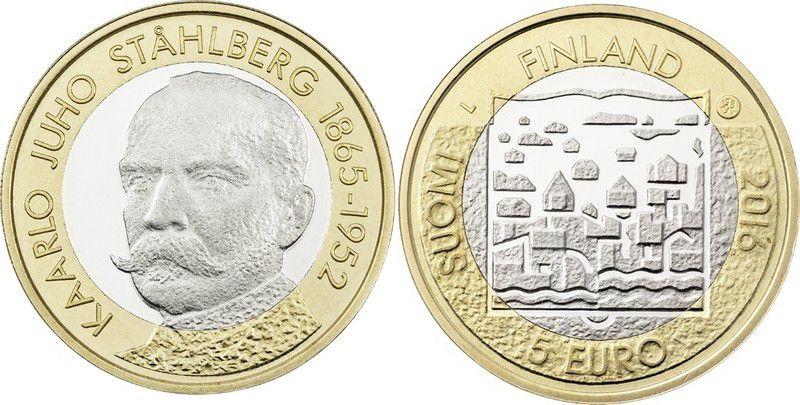 Finlande 5 Euro, Karl J. Stahlberg (1865-1952) - Président - 2016