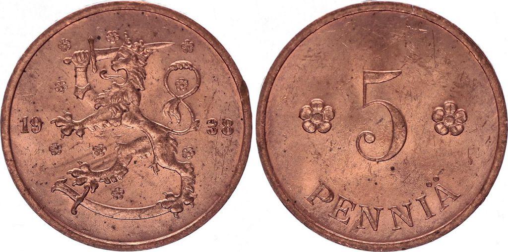 Finlande 5 Pennia Armoiries -1938