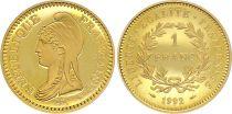 France - Monnaie de Paris 1 Franc Or  Bicentenaire de la République - 1992 - Neuf