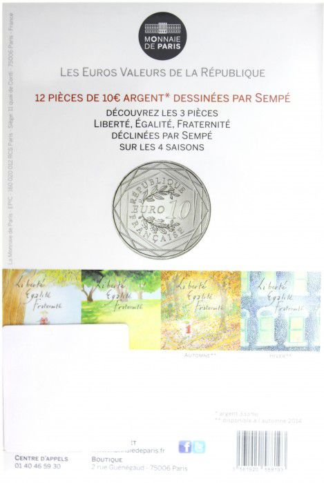 France - Monnaie de Paris 10 Euro Eté 2014 - Fraternité