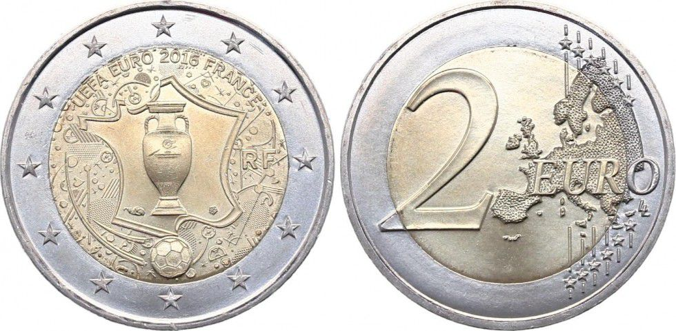 Pièce France Monnaie De Paris 2 Euro Uefa Euro De Football 2016