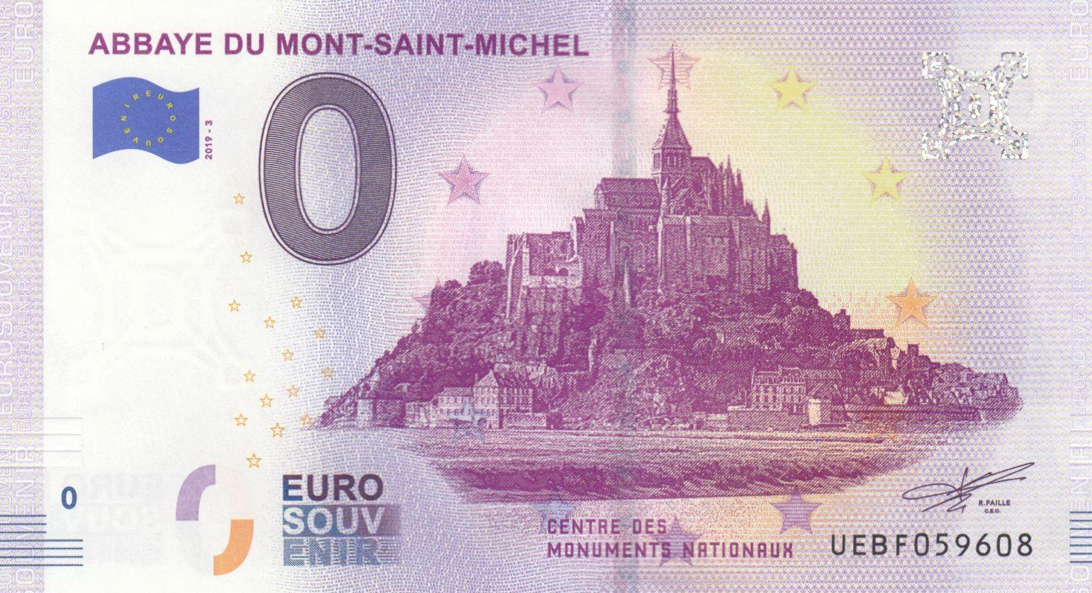 France 0 Euro - Mont Saint Michel - Billet touristique - 2019