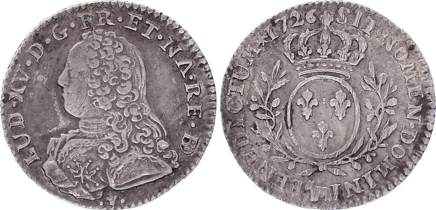 France 1/10 Ecu de Béarn Louis XV aux Branches d\'Olivier - 1726 Pau