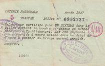 France 1/10 Loterie Nationale  - 1937- TTB