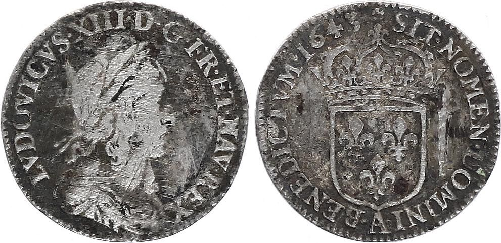 France 1/12 Ecu Louis XIII - Type Warin - 1643 A Paris - Argent