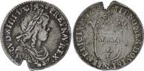 France 1/12 Ecu Louis XIV à la mèche longue - 1658 N Montpellier - Argent
