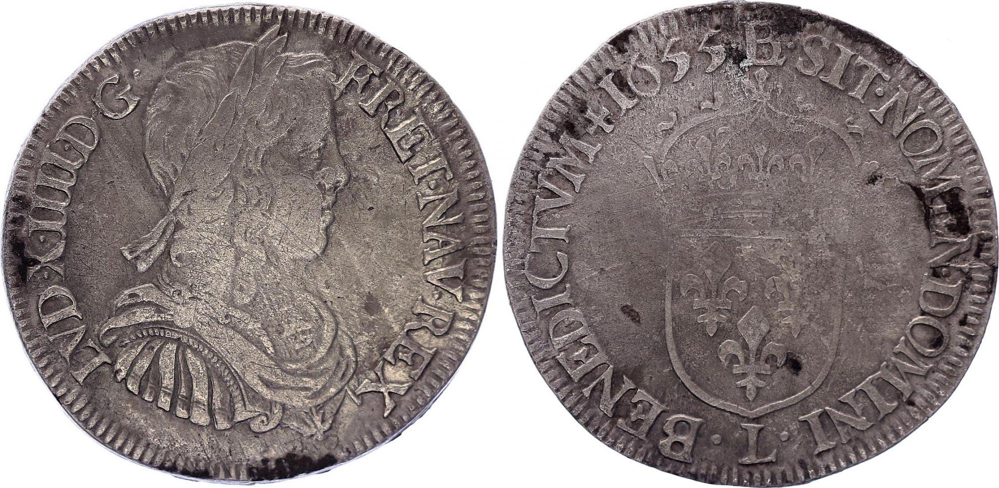 France 1/2 Ecu Louis XIIII a la mèche longue - 1648 K Bordeaux
