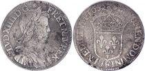 France 1/2 Ecu Louis XIIII a la mèche longue - 1652 F Angers