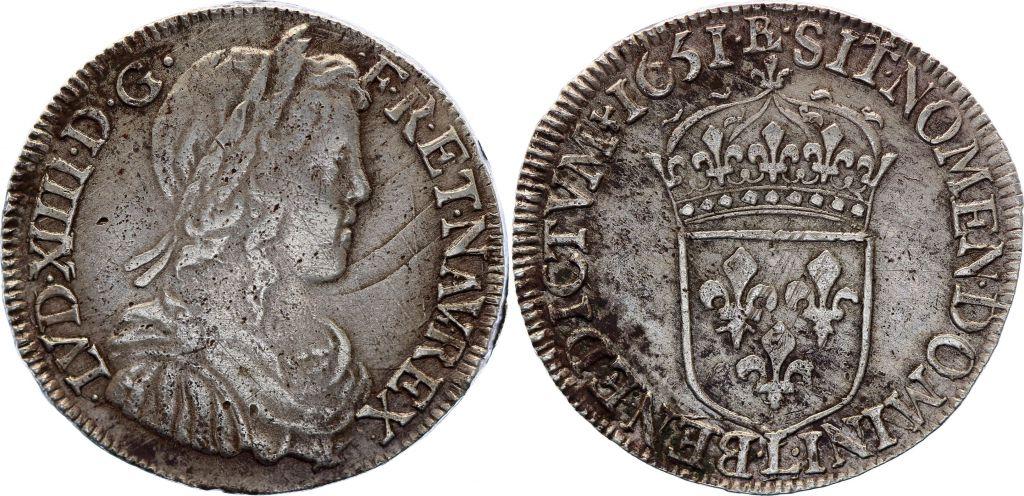 France 1/2 Ecu Louis XIV à la mèche longue - 1651 L