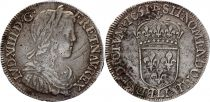 France 1/2 Ecu Louis XIV long hair before ear - 1651 L