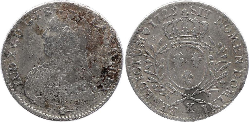France 1/2 Ecu Louis XV aux branches d\'olivier - 1729 X Amiens - TB