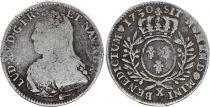 France 1/2 Ecu Louis XV aux branches d\'olivier - 1730 X Amiens - Argent
