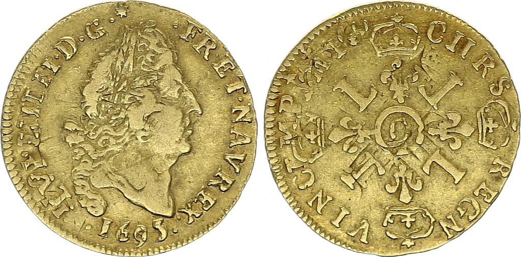 France 1/2 Louis d\'or, Louis XIV (1643-1715) 4 L - C Caen - 1695 - Gold