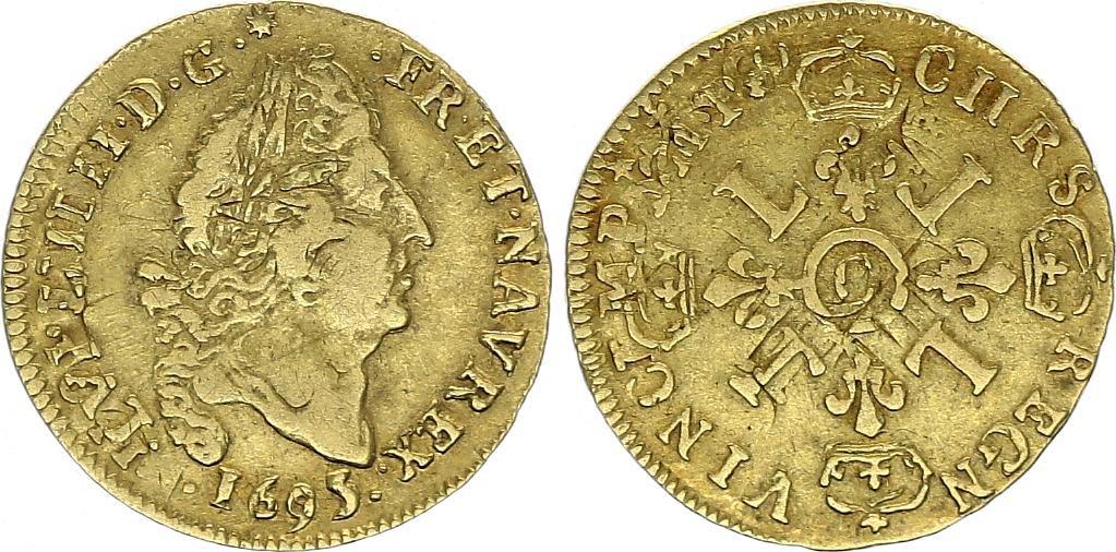 France 1/2 Louis d\'or, Louis XIV (1643-1715) aux 4 L - C Caen - 1695