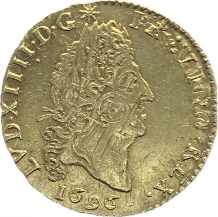 France 1/2 Louis dor, Louis XIV (1643-1715) aux 4 L - 1696 A Paris
