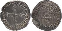France 1/4 Ecu, Henri III - 1587 Nantes - F to VF - Silver