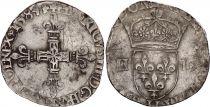 France 1/4 Ecu Henri III - 1584 H La Rochelle - Silver