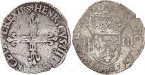 France 1/4 Ecu Henri III - 1588 - Rennes (9) - Silver
