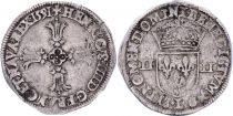 France 1/4 Ecu Henri IV -  Argent - 1591 L Bayonne