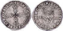 France 1/4 Ecu Henri IV -  Silver - 1591  L Bayonne