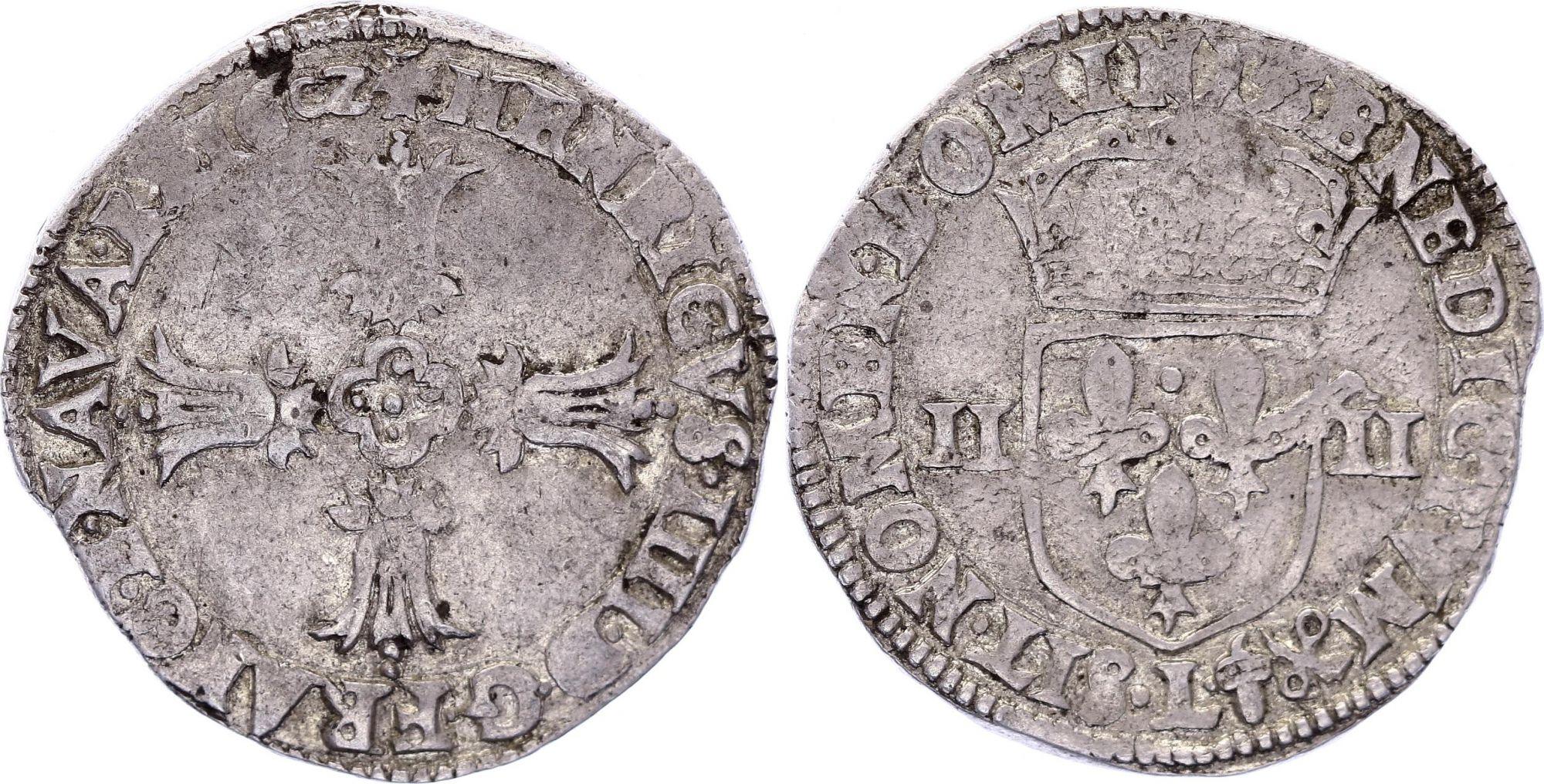 France 1/4 Ecu Henri IV -  Silver - 1602 L Bayonne