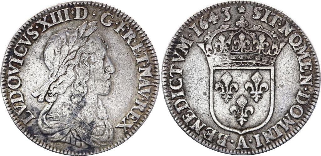France 1/4 Ecu Louis XIII Poinçon de Warin - Argent 1643 A Paris