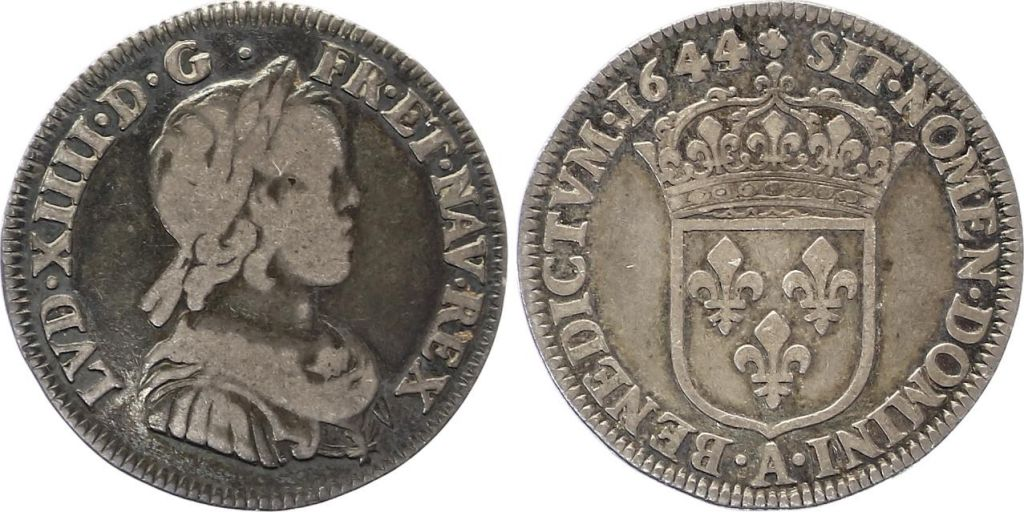 France 1/4 Ecu Louis XIV - Mèche courte - 1644 A
