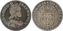France 1/4 Ecu Louis XIV - Mèche courte - 1644 A