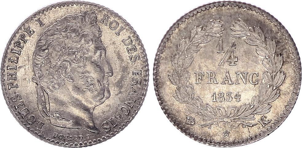 France 1/4 Franc Louis Philippe I - 1834 K Bordeaux