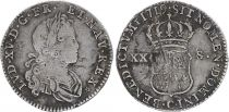 France 1/6 Ecu Louis XV - 1719 C Caen - Argent