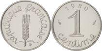 France 1 Centime Epi Piéfort 1980 - sous sachet Monnaie de Paris - Argent