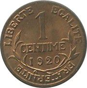 France 1 Centime Liberty head - 1920