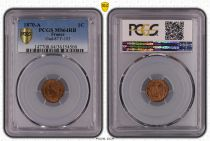 France 1 Centime Napoleon III  - Laureate Head -1870 A - PCGS MS4