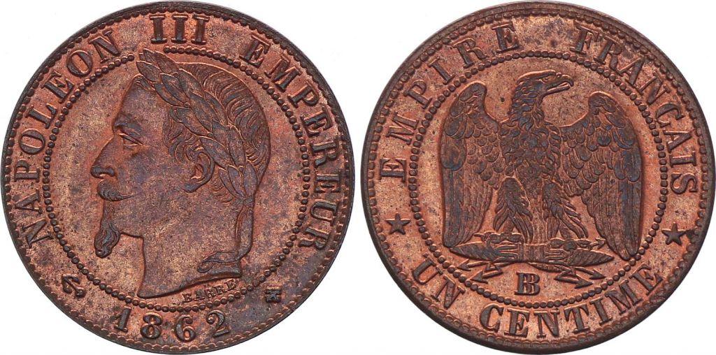 France 1 Centime Napoléon III - Tête Laurée -1862 BB - 1 e ex