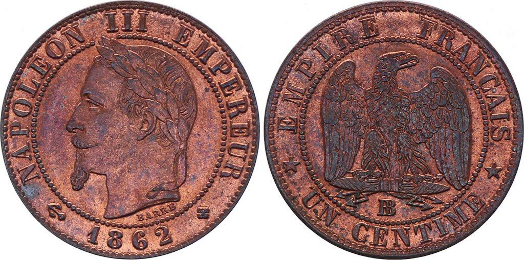 France 1 Centime Napoléon III - Tête Laurée -1862 BB - 3 e ex