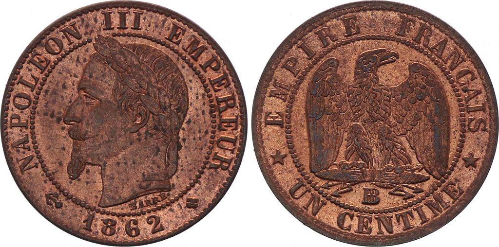 France 1 Centime Napoléon III - Tête Laurée -1862 BB - 4 e ex