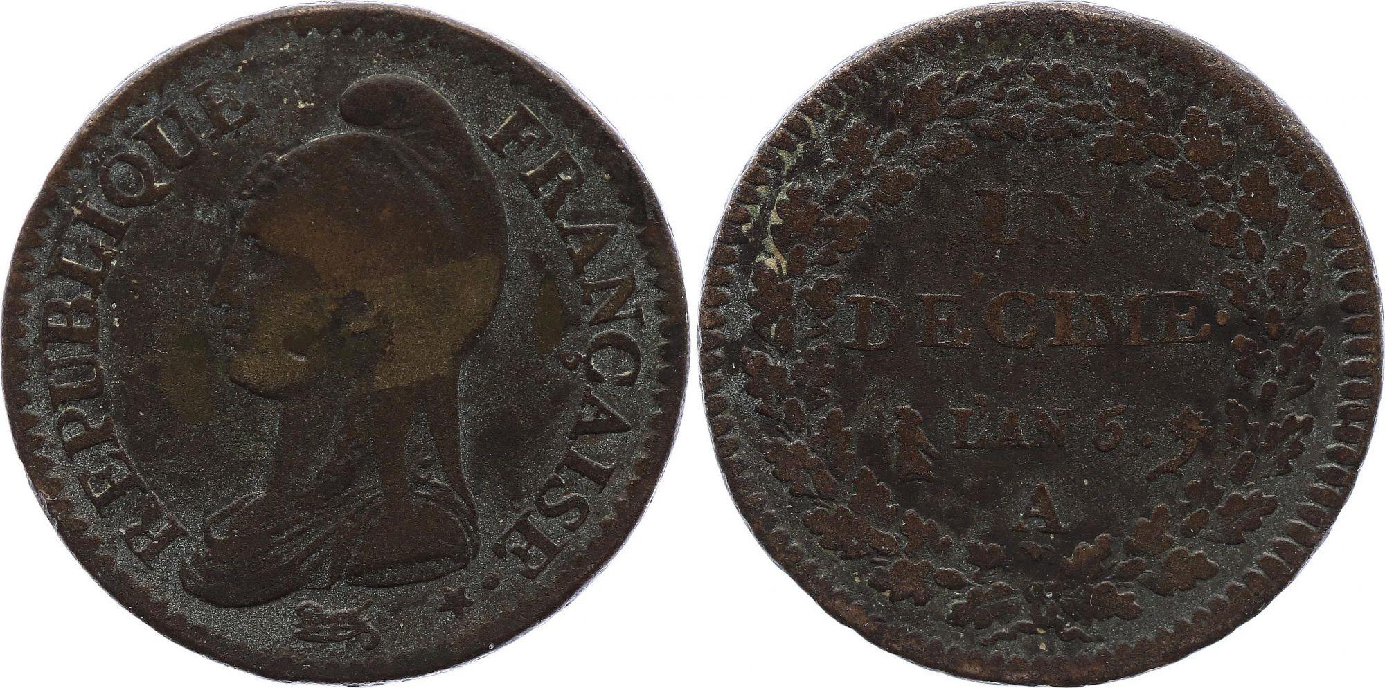 France 1 Décime Dupré - Directoire An 5 A Paris (1797)