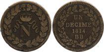 France 1 Decime Napoleon I - Strasbourg Blockade - 1814 BB