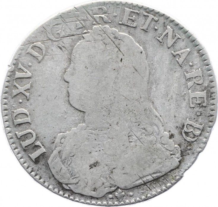France 1 Ecu Louis XV aux branches d olivier - 1733 Pau