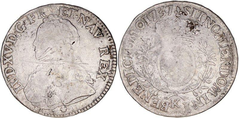 France 1 Ecu Louis XV aux branches d olivier - 1737 K