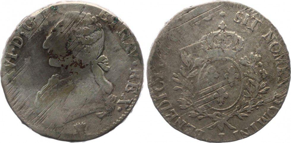 France 1 Ecu Louis XVI aux branches d olivier - 1780 I