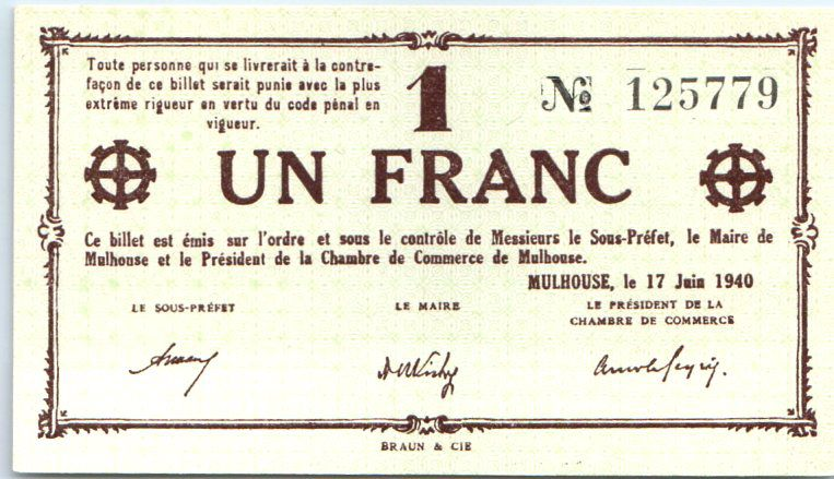 banknote france 1 franc mulhouse chambre de commerce sans s rie. Black Bedroom Furniture Sets. Home Design Ideas