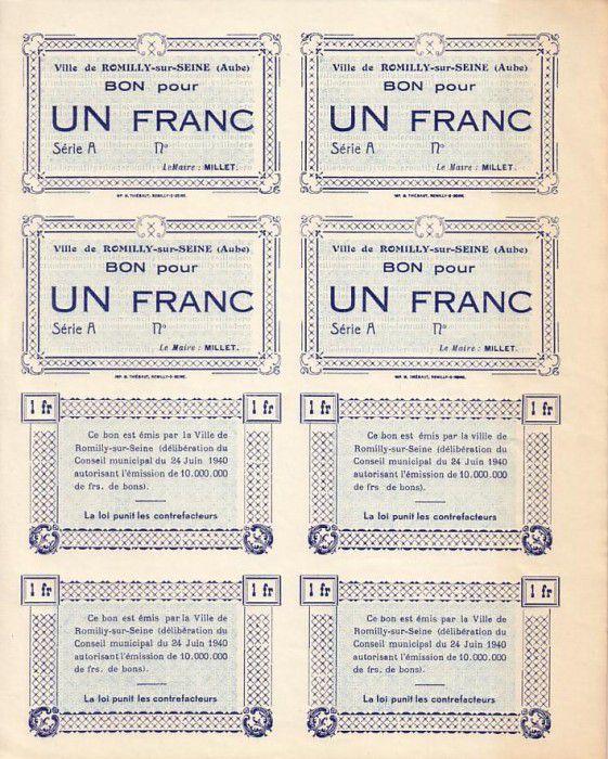 France 1 F , Romilly-sur-Seine Planche uniface incluant 4 épreuves recto et 4 verso, Série A, Non émis