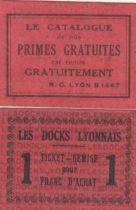 France 1 F Lyon Ticket de remise. Les Docks Lyonnais