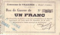 France 1 F Vraignes Bon de guerre
