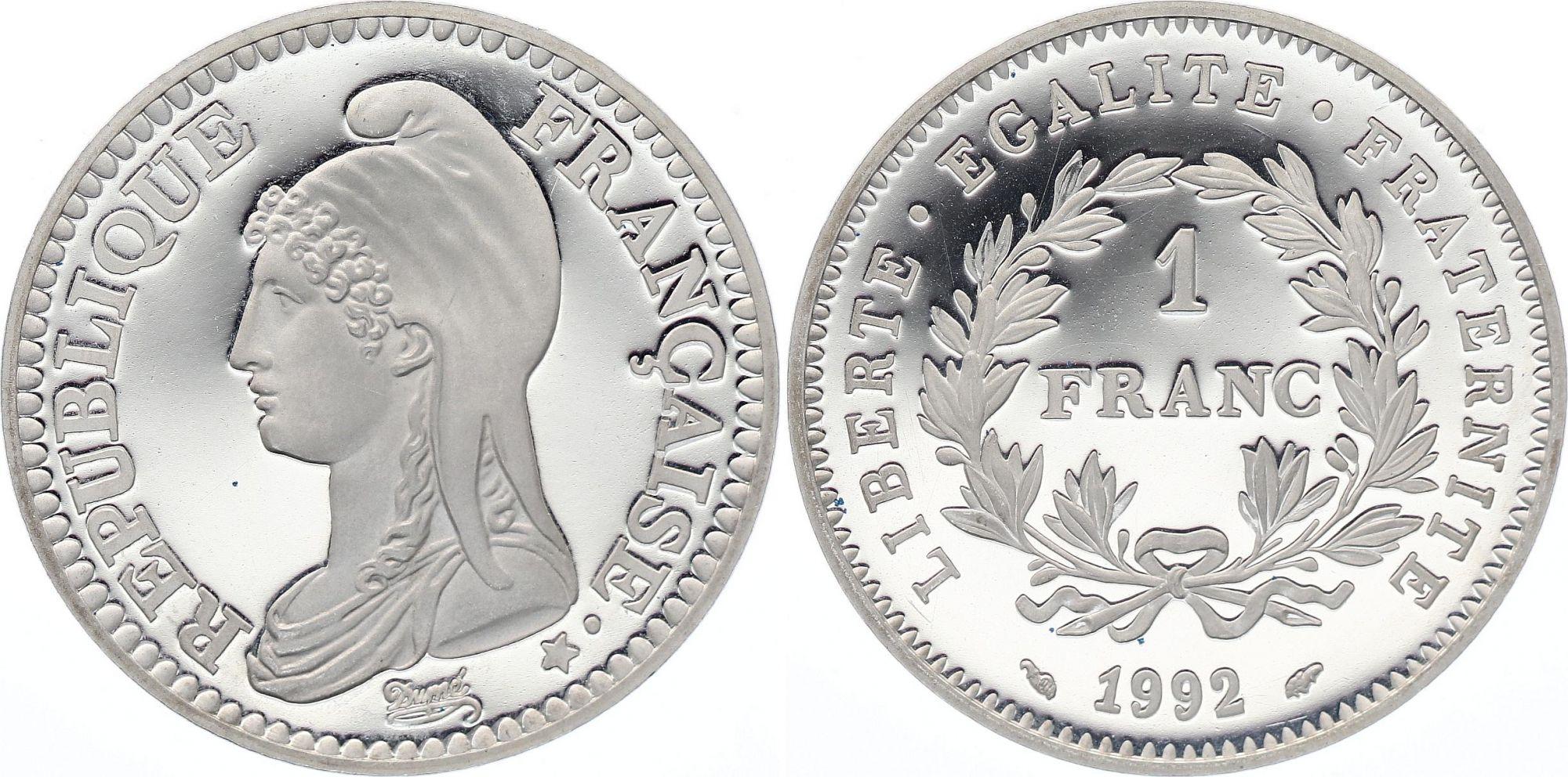 France 1 Franc  - 200 Ans de la République - Piefort 1992 - Argent - sans boite et sans certificat