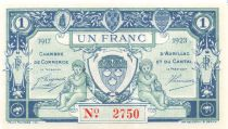 France 1 Franc - Aurillac and Cantal Chamber of Commerce 1917 - aUNC