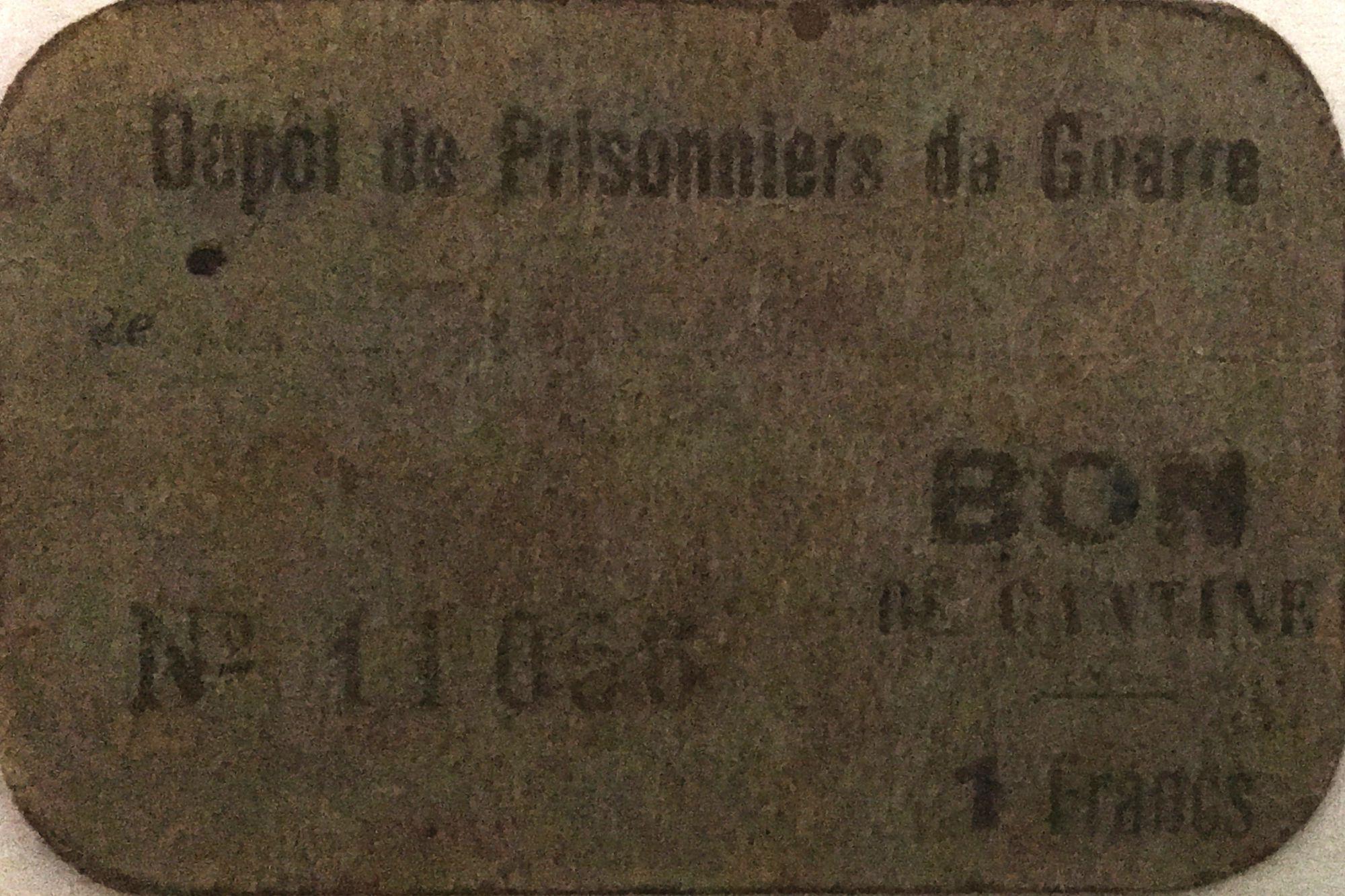 France 1 Franc - Bon de Cantine - Dépôt de Prisonniers de Guerre - PTTB