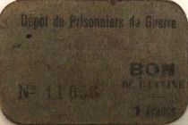 France 1 Franc - Canteen Coupon - WWI Prisoners - F to VF
